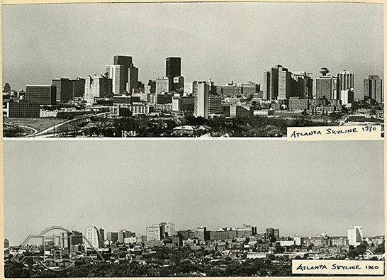 Photos of Atlanta Skyline in 1960 and 1970